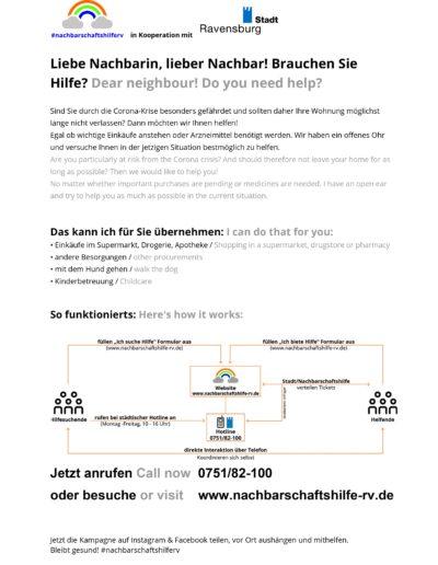 Nachbarschaftshilfe Aushang